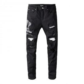 Replica Amiri Black Snake Patch Jeans