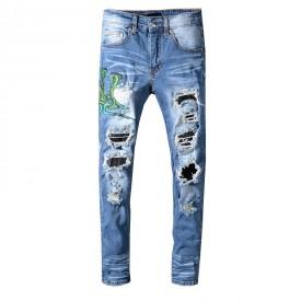 Replica Amiri Blue Snake Patch Jeans