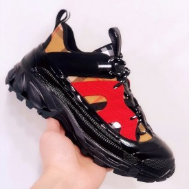 BUR Vintage Check Cotton and Nubuck Arthur Sneakers Black/Red
