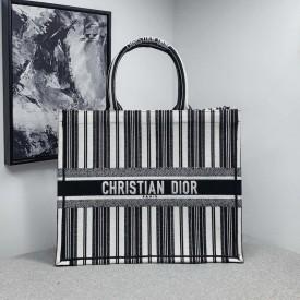 Replica Dior Book Tote Black and White Stripes