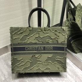 Replica Dior book tote camouflage embroidered bag
