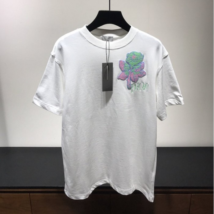 Replica Dior Rose Embroidered T shirt