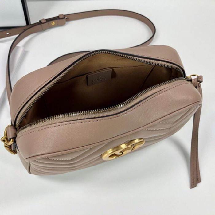 Gucci GG Marmont Shoulder Bag Matelasse Web Strap Small Nude