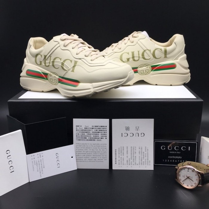 Replica Gucci Logo Leather Sneaker