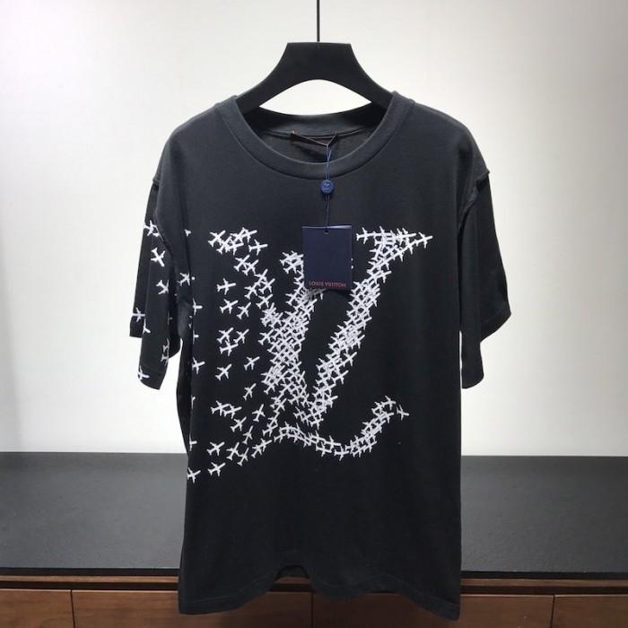 Replica LV planes printed t shirt black