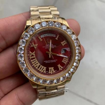 Replica Rolex 18K Gold Diamond Watch Red Face